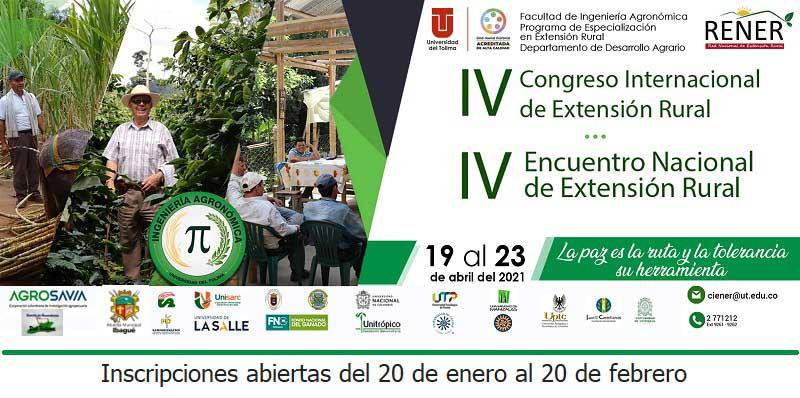 Ibagué realizará el IV Congreso internacional de extensión rural, y el IV encuentro nacional de extensión rural, CIENER