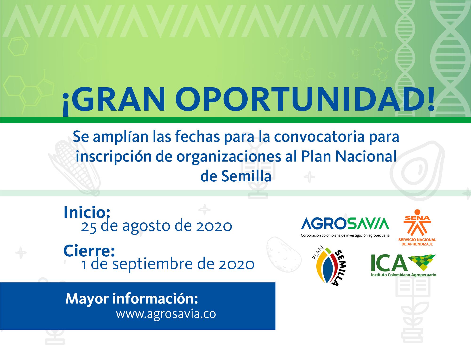 Plan Nacional de Semillas mantiene abierta convocatoria para registro de organizaciones de productores