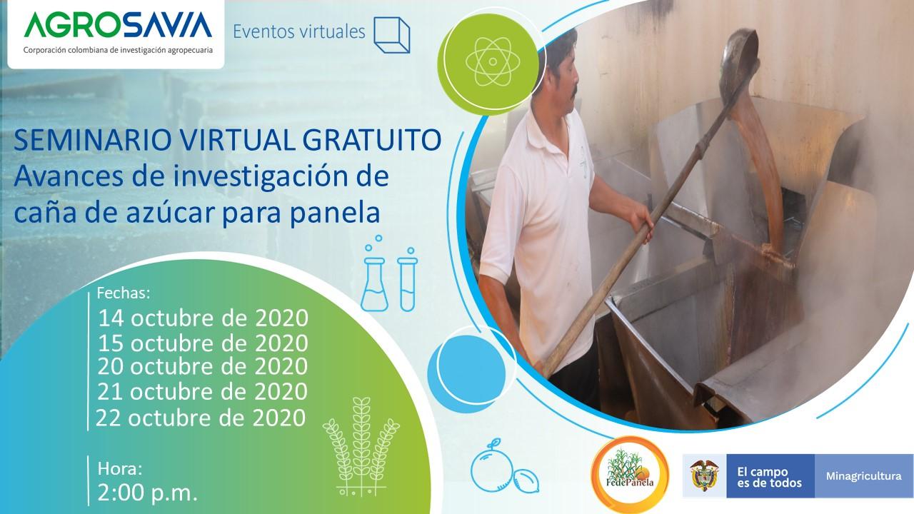 AGROSAVIA invita al Seminario virtual: Avances de investigación de caña de azúcar para panela